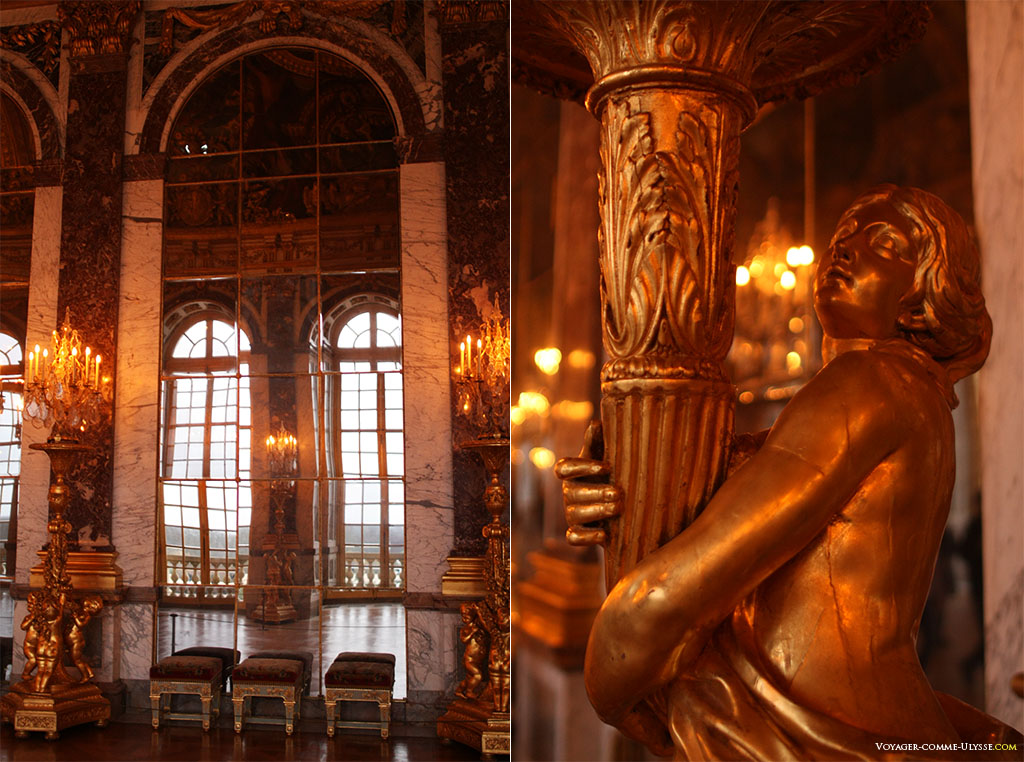 A gauche, une des arches aux miroirs de la Galerie des Glaces. A droite, détail d'une torchère, représentant une femme tenant une corne d'abondance.