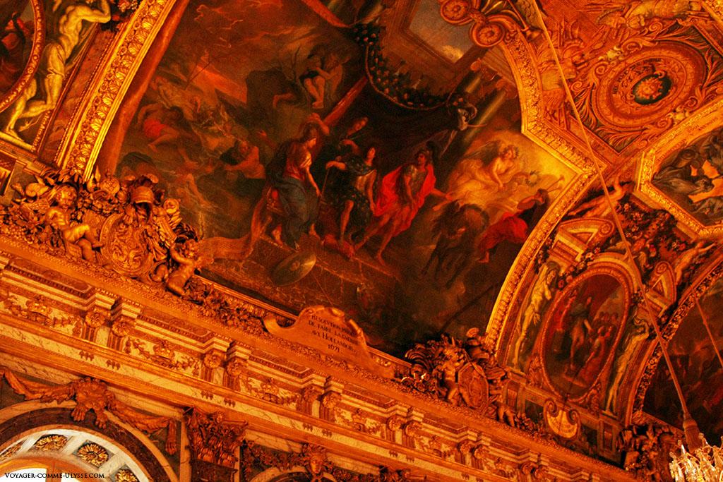 Resolução tomada para entrar em guerra contra os Holandeses. Quadro de Le Brun na Galeria dos Espelhos.