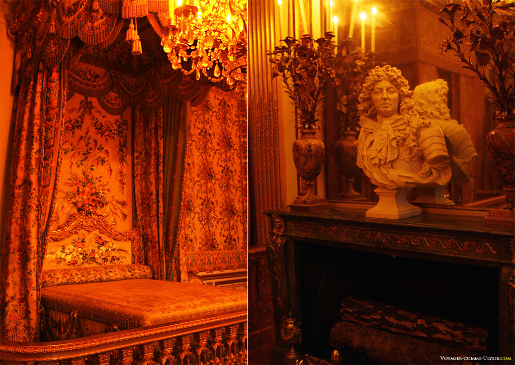 À esquerda, o quarto da Rainha. À direita, um busto do Rei Sol no Quarto do Rei, por Antoine Coysevox.