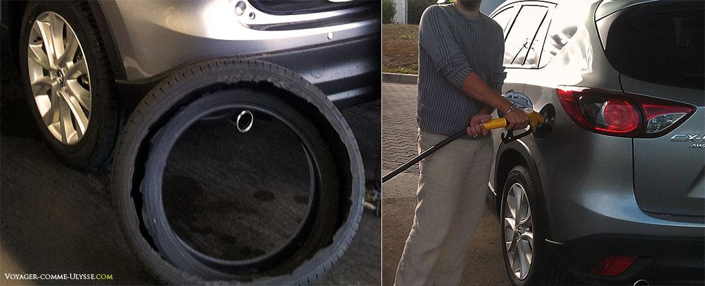 A gauche, gros plan sur la roue déchirée. A droite, remplissage du réservoir, assez fréquent : la voiture n'a qu'un réservoir de 58L, ce qui est petit pour une voiture si grosse.