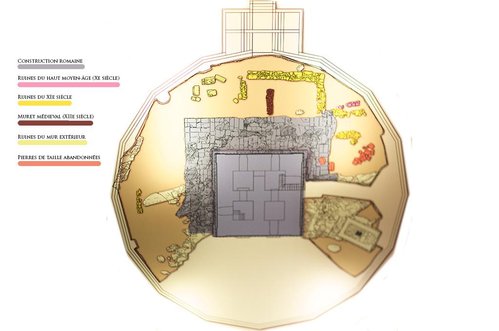 Fouilles archéologiques à la base de la Tour d'Hercule.