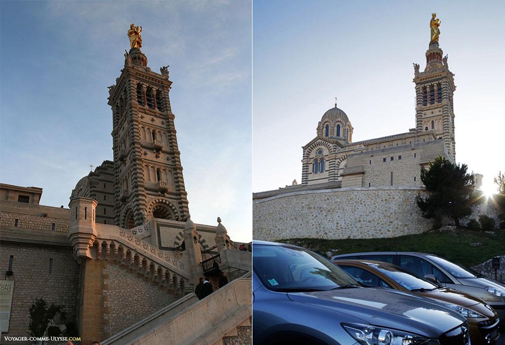 Le clocher est impressionnant. Surmonté de la grande statue de la Vierge, il culmine à 41 m, auxquels il faut ajouter les 12,5 m du piédestal de la statue de  11,2 m.