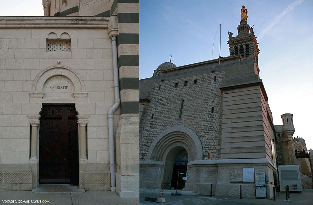 A gauche, l'entrée de la nouvelle sacristie. A droite, l'ancienne vocation militaire de la colline est ici bien visible.