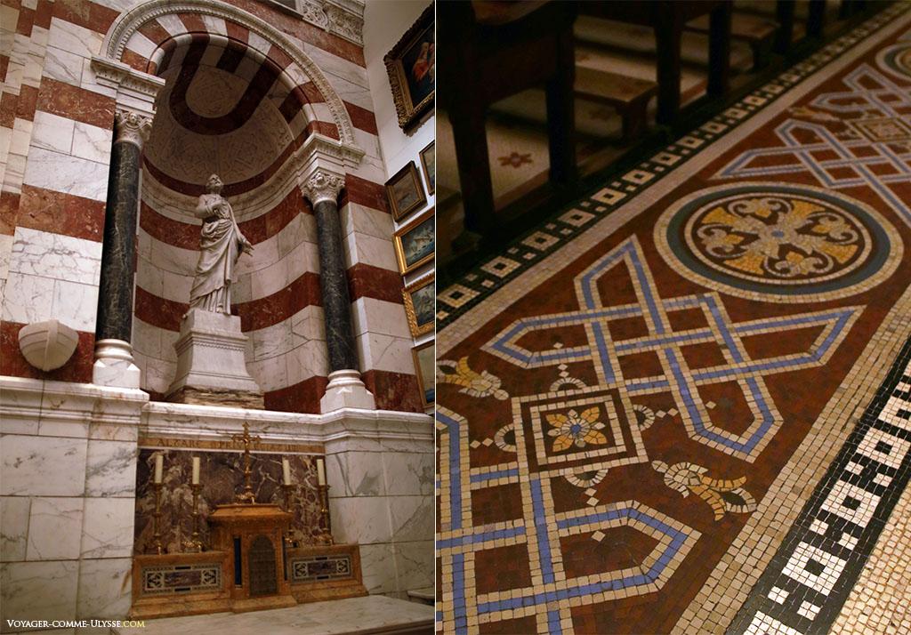 A gauche, chapelle Saint-Pierre, à droite, le sol de la basilique.