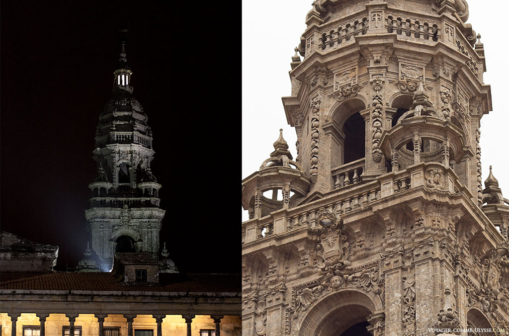 Duas fotografias da Torre do Relógio. Na fotografia da esquerda, a lanterna é bem visível, iluminando a noite.