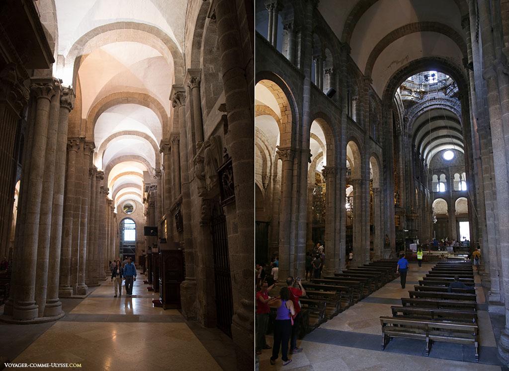 À esquerda, uma colateral e os seus confessionários. À direita, o transepto olhando para a Praça das Praterias.