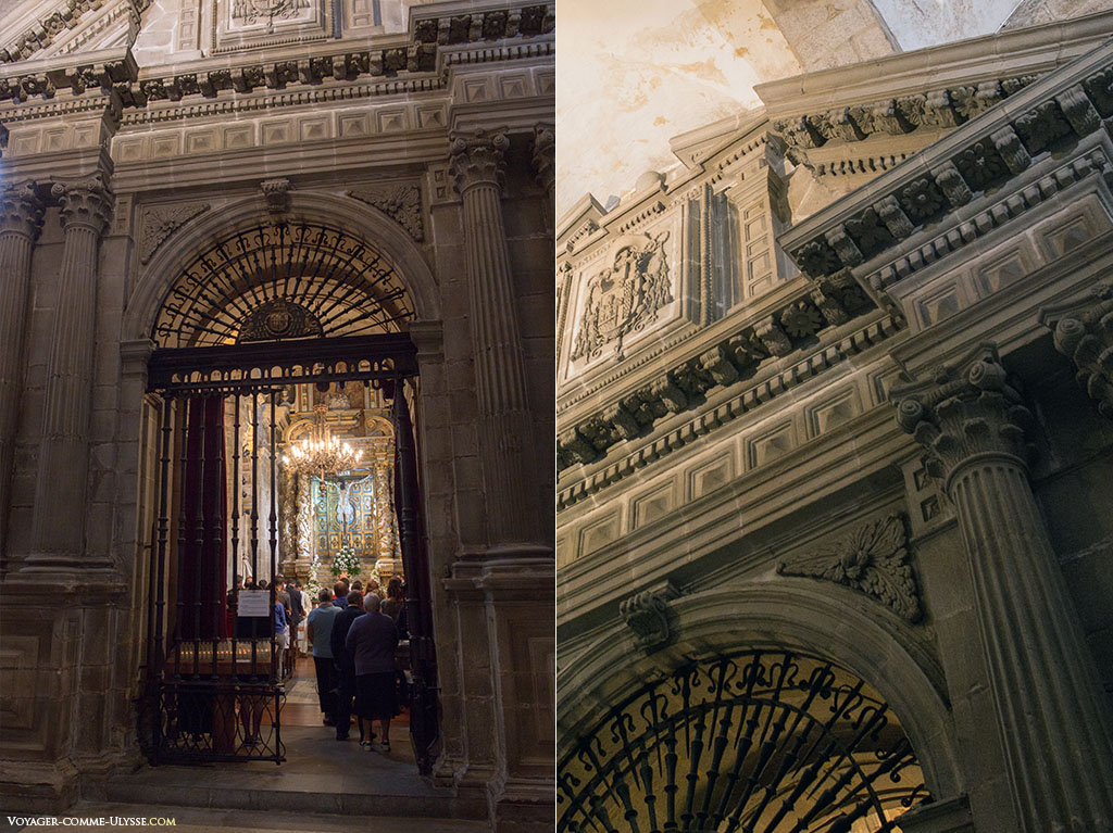 À esquerda, a entrada para a Capela do Cristo de Burgos. À direita, um detalhe da capela, neoclássica.