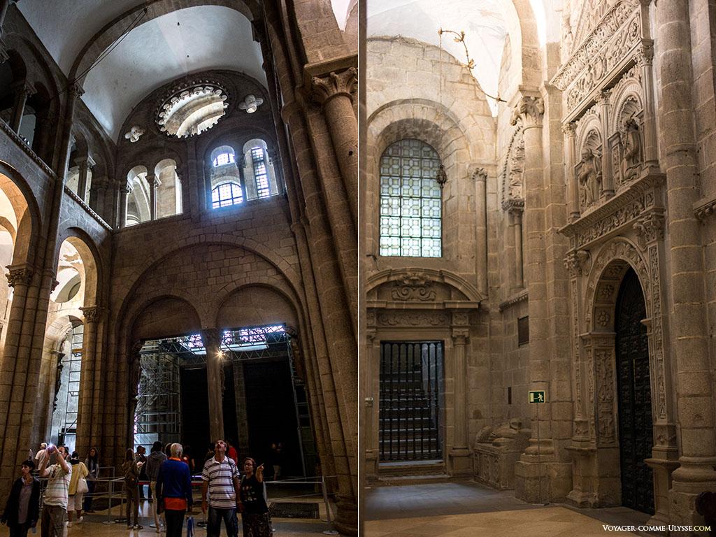 Vista traseira da fachada romana da catedral. Vislumbra-se o Portal da Glória. À direita, a Porta da Sacristia.