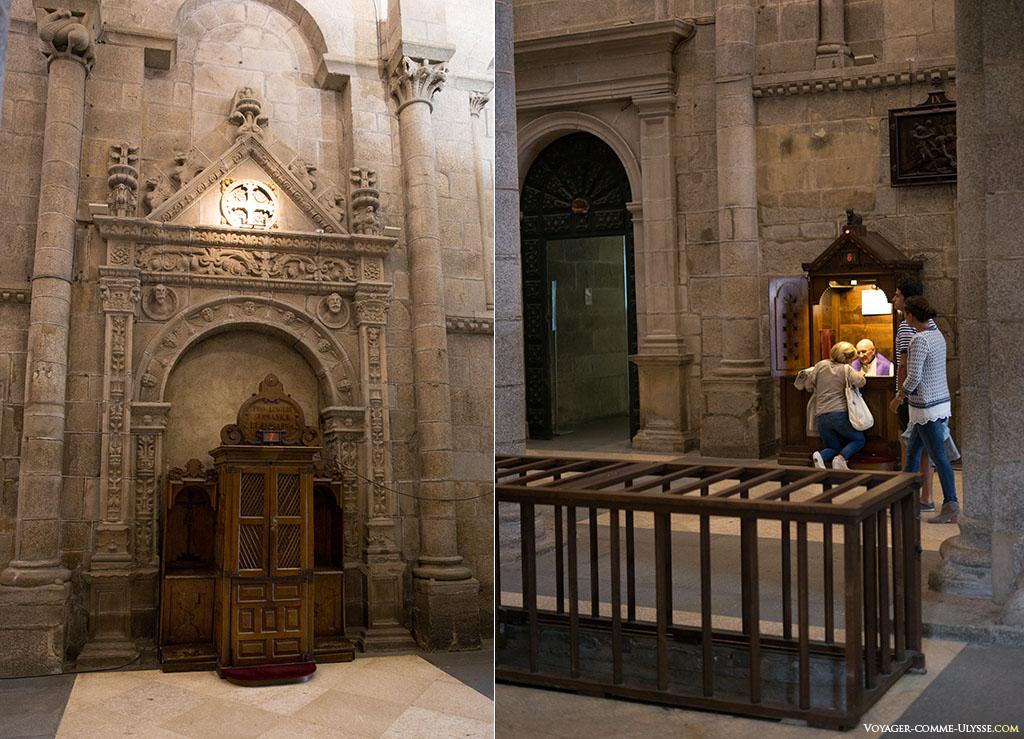 Na fotografia da esquerda, um confessionário. Distingue-se uma cruz de consagração por cima. À direita, uma pessoa confessando-se. No primeiro plano, uma espécie de gaiola que permite avistar as pesquisas arqueológicas.