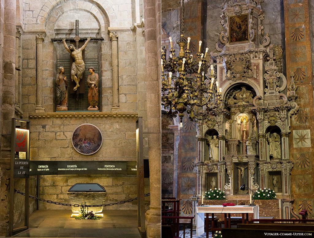 Neste antigo batistério que figura na fotografia da esquerda, a lenda indica que Al-Manzor deu de beber ao seu cavalo. Por cima, um antigo Calvário gótico. À direita, a Capela do Pilar.