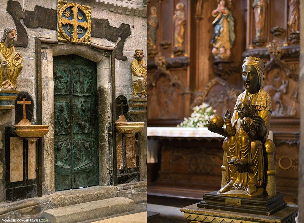À esquerda, a Porta Santa, ou a Porta do Perdão. Esta porta de bronze é decorada com momentos da vida de Santiago. À direita, a Virgem de Monserrat na Capela de los España. É a padroeira da Catalunha.