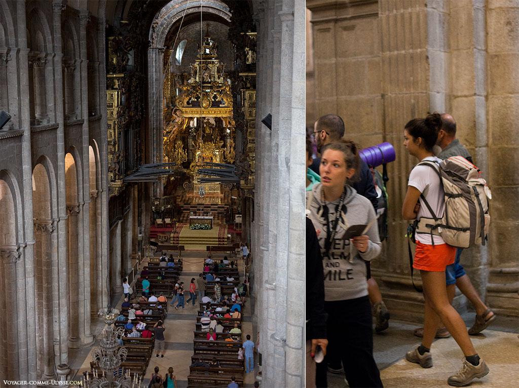 À esquerda, uma fotografia da nave da catedral. À direita, peregrinos com as suas pesadas mochilas.