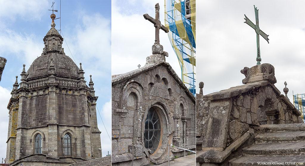 Na primeira fotografia à esquerda, a torre por cima do transepto. No centro e à direita, nota-se as origens românicas.