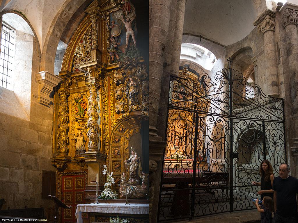 À esquerda, a capela de Santo André, reconhecível pela sua cruz. À direita, a capela de São João e o seu belo gradeamento.