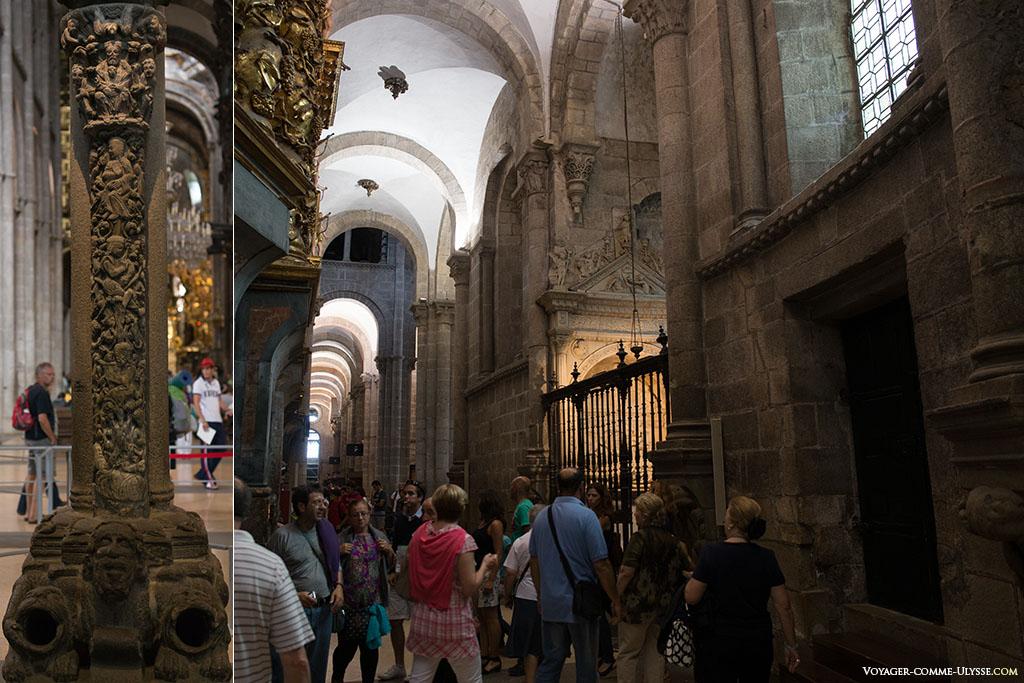 À direita, o fim do deambulatório. Vislumbra-se a capela da Santa Fé. À esquerda, a árvore de Jessé que simboliza a árvore genealógica da Jesus desde Jessé, pai do rei David.