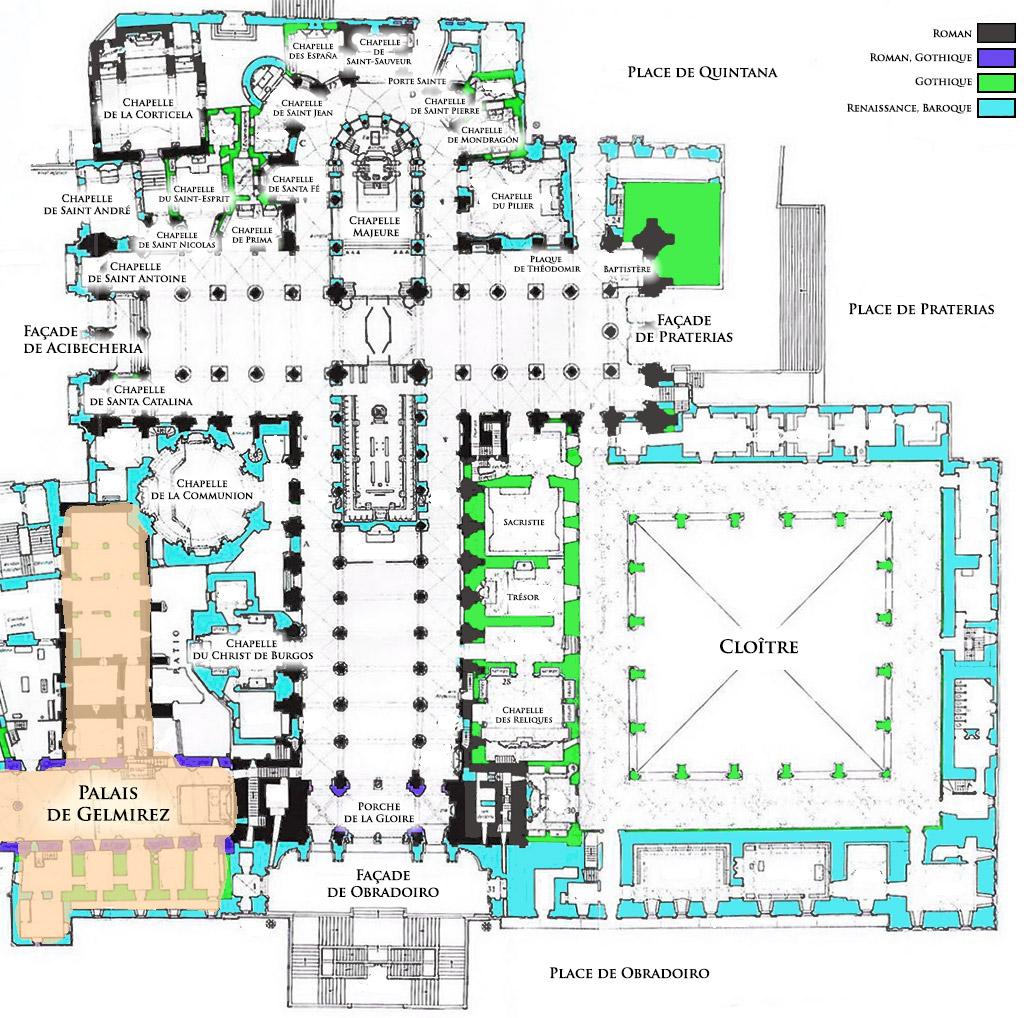Plan de la Cathédrale de Santiago de Compostela