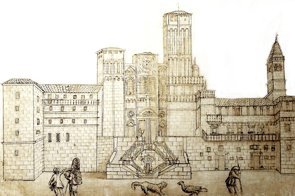 Neste desenho de Veja y Verduro, temos uma ideia da fachada principal de Santiago de Compostela antes da sua renovação pela Arte Barroca.