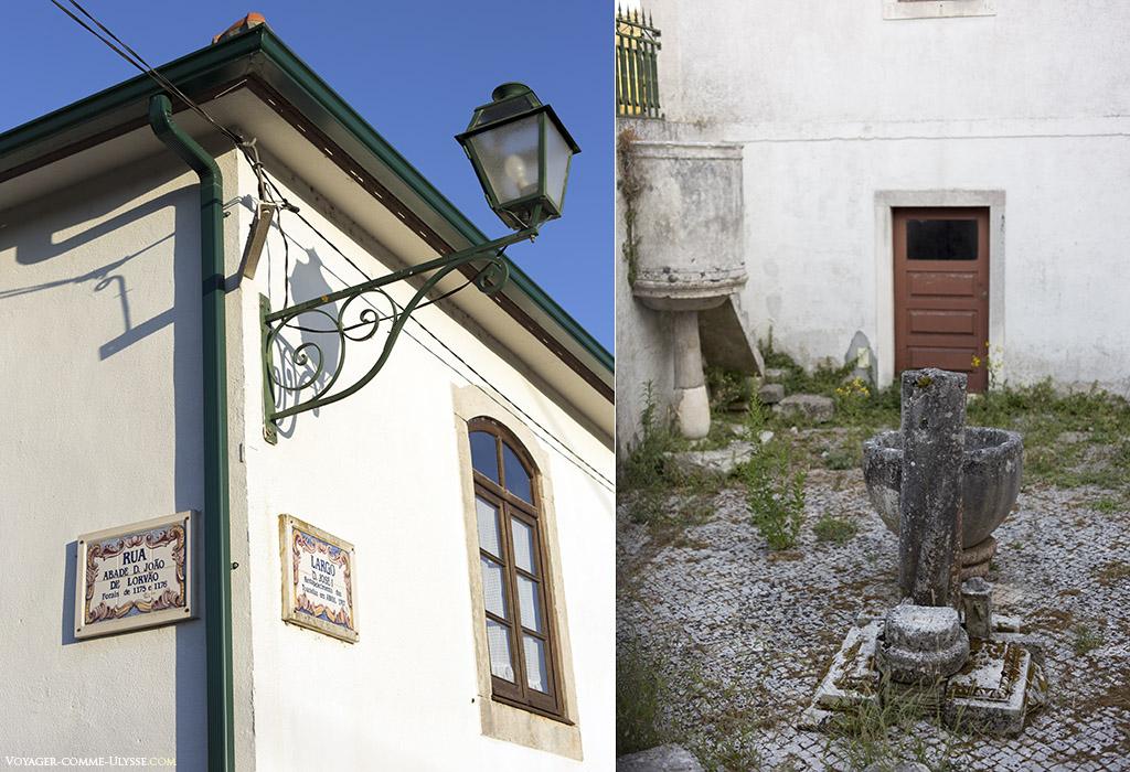 deux photos : celle de gauche présente du mobilier urbain, celle de droite une vieille fontaine dans une cour.