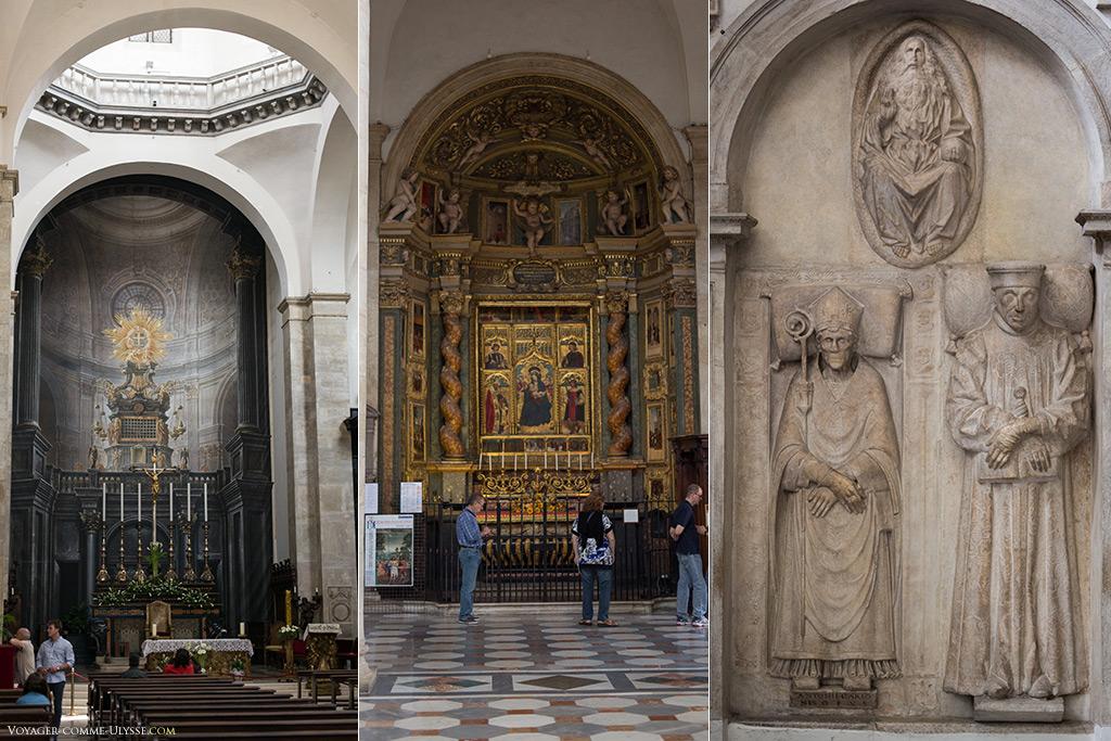 Sur la photo de gauche, au fond, une peinture a été réalisée , donnant une idée de la Chapelle Guarini avant l'incendie de 1997. A droite, bas reliefs, et au centre, le polyptyque de Giovanni Martino Spanzotti et Defendente Ferrari.