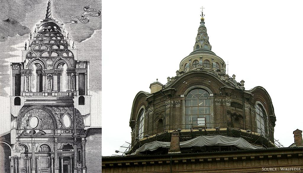 A gauche, dessin de Guarini de la Chapelle du Saint Suaire. A droite, la Chapelle vue d'une cour du Palais Royal de Turin.