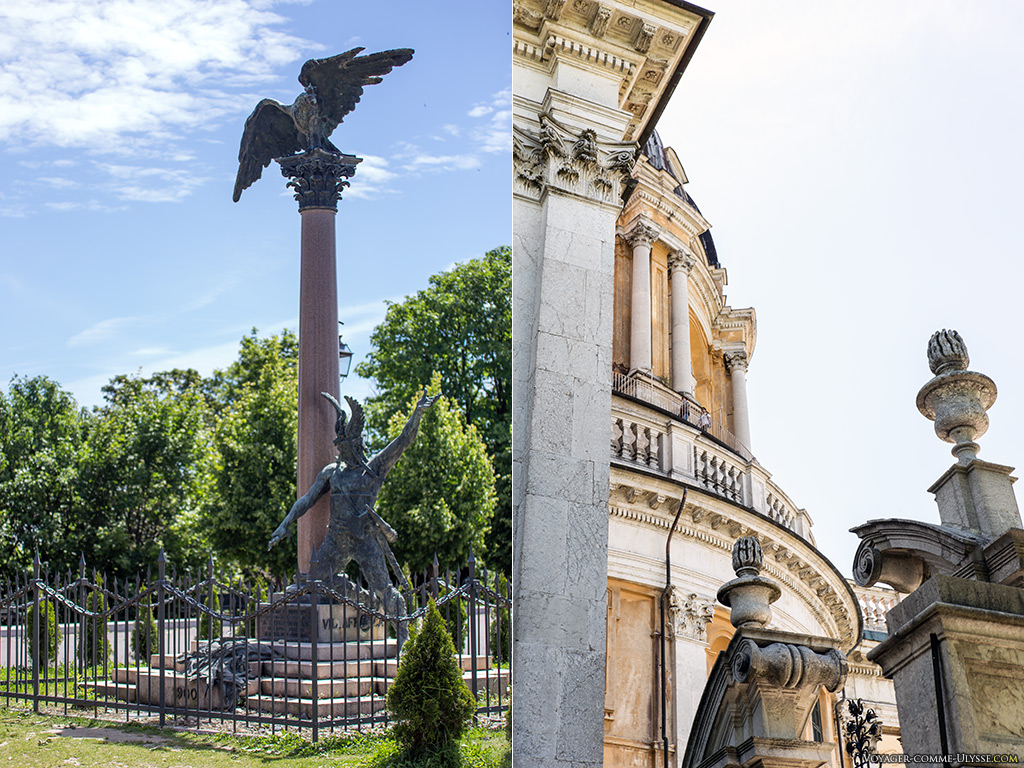 Guerrier celte et détails baroques de la basilique