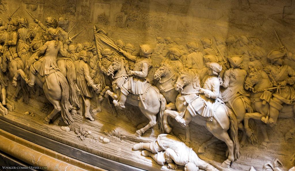 Détail du tombeau de Charles-Emmanuel III, représentant la bataille de Guastalla.