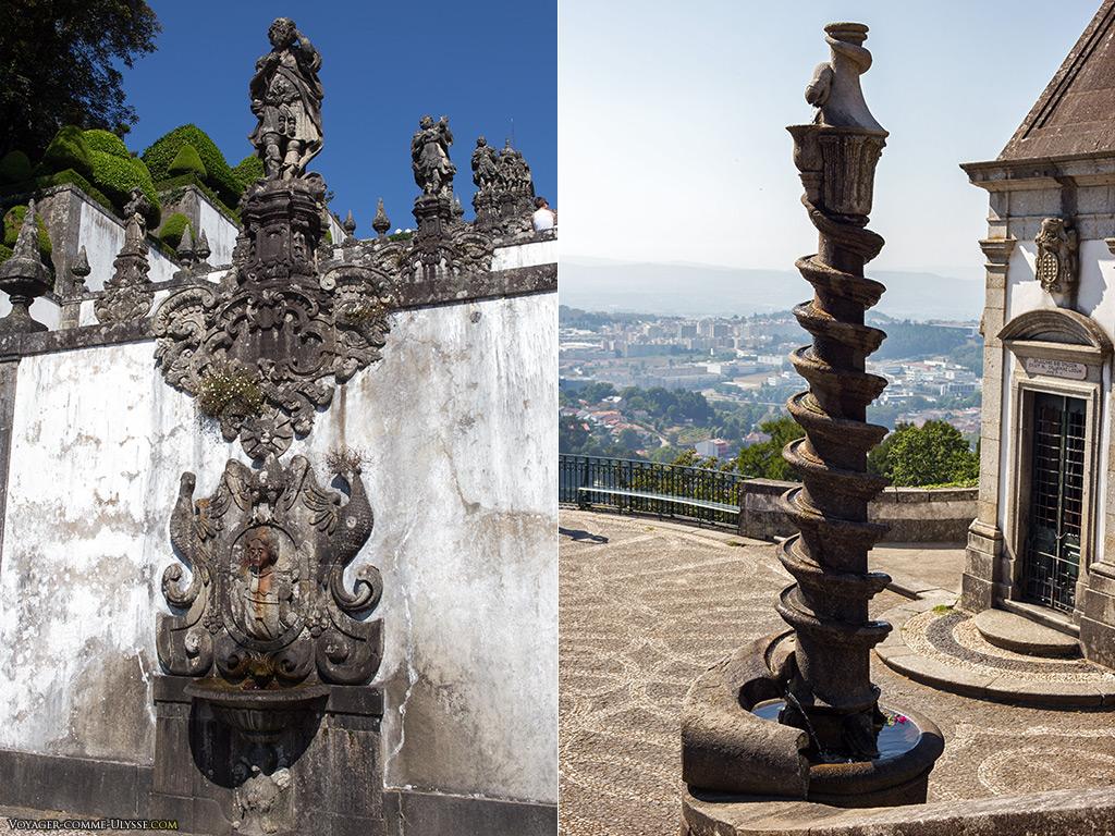 A gauche, la fontaine de la Vision. A droite, une des deux fontaines serpent.