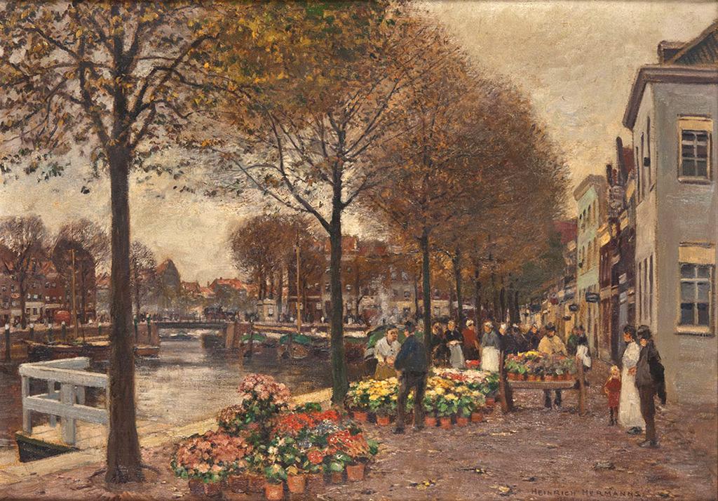 Un aperçu de ce que pouvait être autrefois le Marché aux Fleurs, dans cette oeuvre du peintre Heinrich Hermanns.