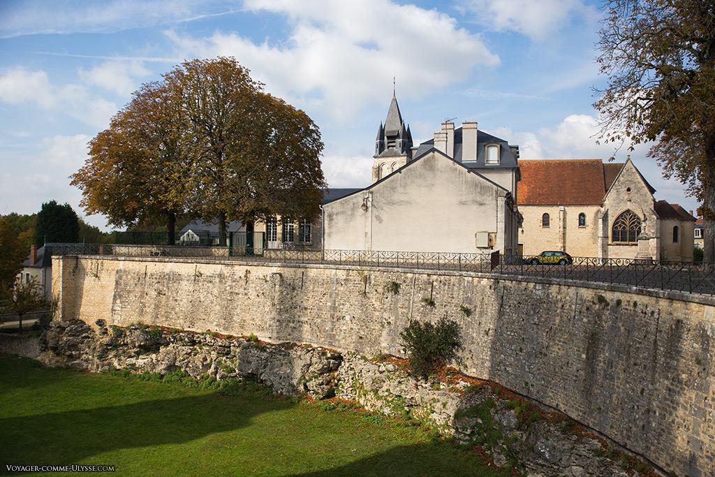 Douves du château, avec au fond la Collégiale.