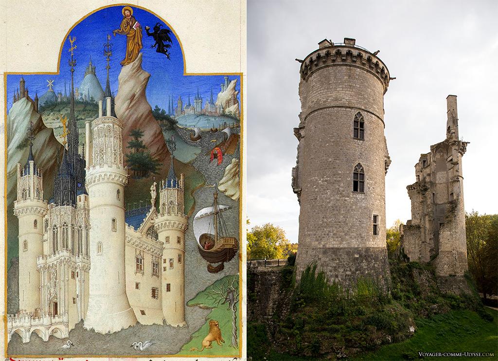 """A gauche, le Château comme on peut le voir sur  les """"Très Riches Heures du duc de Berry"""". A droite, le château aujourd'hui."""