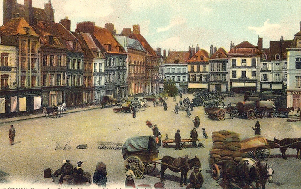 Jour de marché aux grains, avant la Grande Guerre.