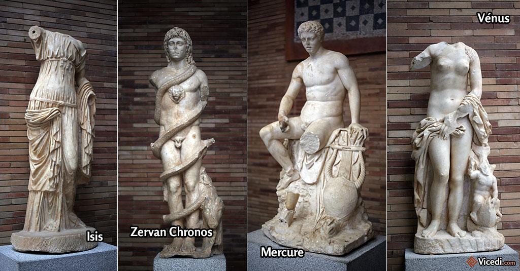 Quatre des plus belles statues du musée. On comprend par ailleurs que les dieux d'origine orientale, comme Isis ou Zervan influencent même l'extrême occident!