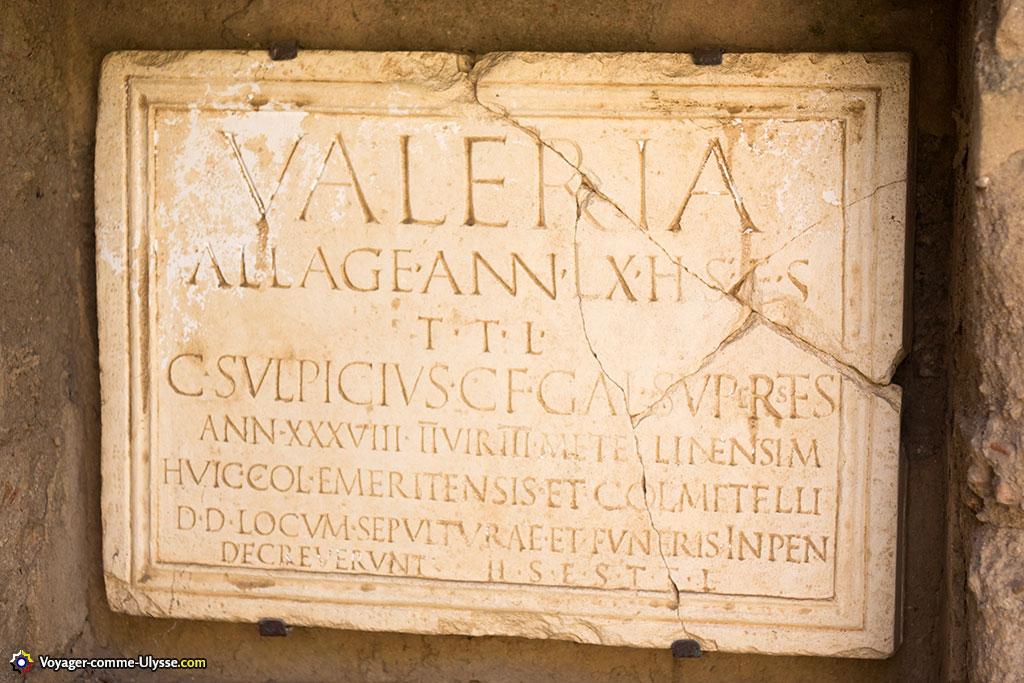 Inscription funéraire de Valeria Allage.