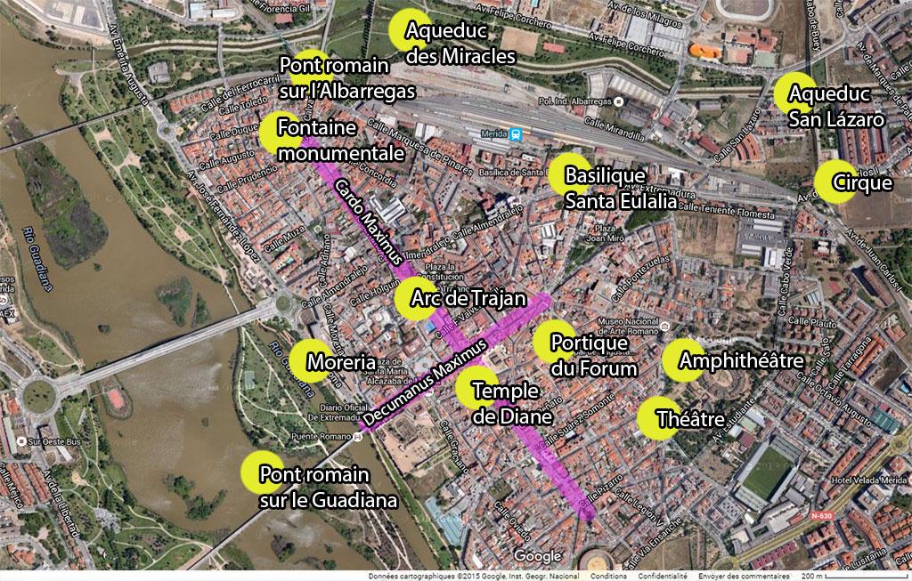 Plan de Mérida et de ses vestiges romains.