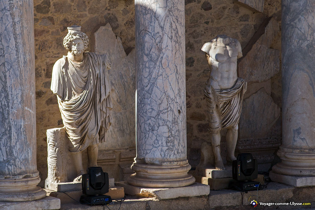 Colonnes de marbre et statues.