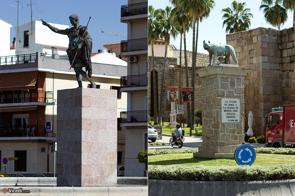 Les liens avec Rome sont évidents et cultivés. A gauche, une statue d'Auguste, à droite, la célèbre louve allaitant les jumeaux.