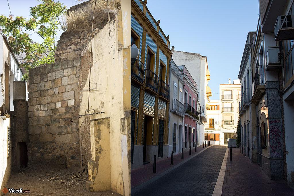A gauche, le peu qui reste de l'ancienne muraille médiévale.