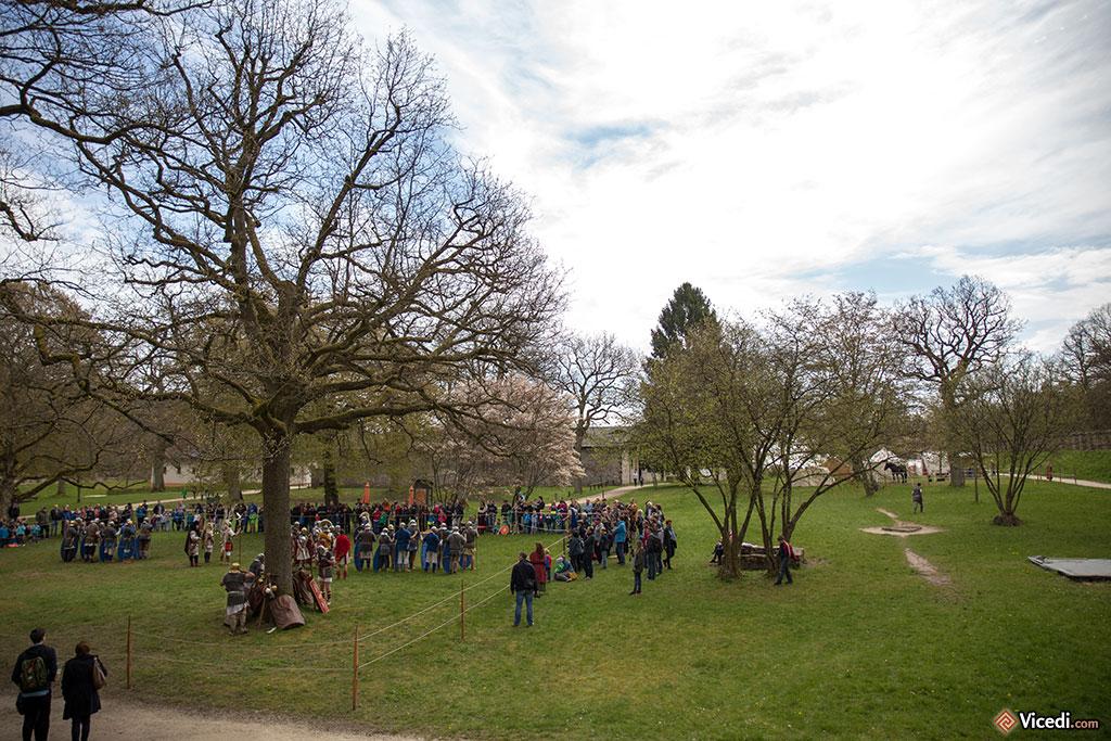 La présentation des militaires romains est en cours sur le vaste espace vide du camp.