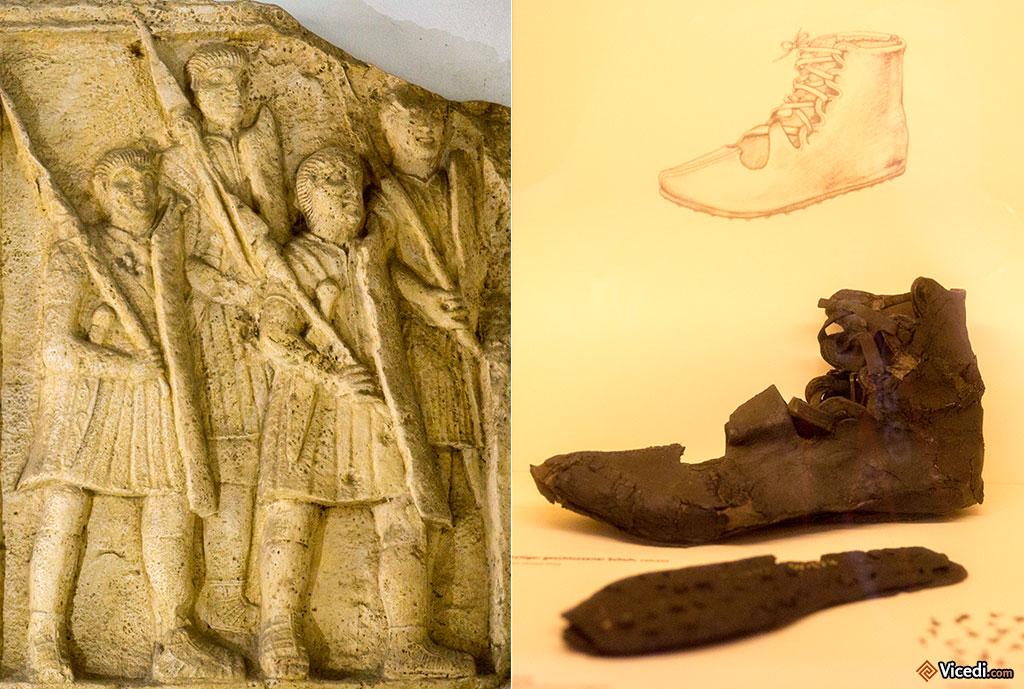 A gauche, reproduction d'une métope d'Adamclisi. On comprend sa présence quand on sait qu'Heinrich Jacobi fut l'un des responsables des fouilles à Adamclis. A droite, une chaussure de cuir très bien conservée.