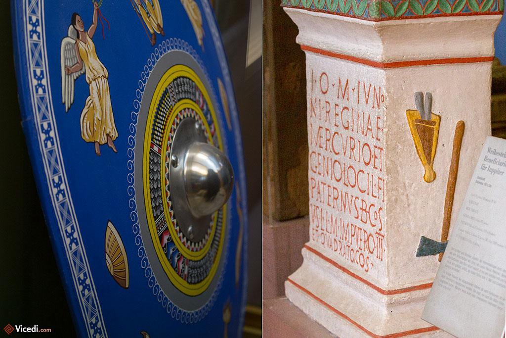 Le musée présente également des pièces reconstituées, nous permettant de visualiser le  véritable aspect d'un objet au temps des romains. A gauche, un bouclier, et à droite,  une stèle peinte.