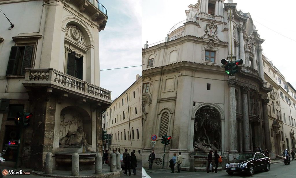 Rome, c'est la ville des églises, mais aussi des fontaines, il y en a 2000 !  Ici, nous avons deux des quatre fontaines, Quattro Fontane, au croisement des Via delle Quattro Fontane et Via del Quirinale.