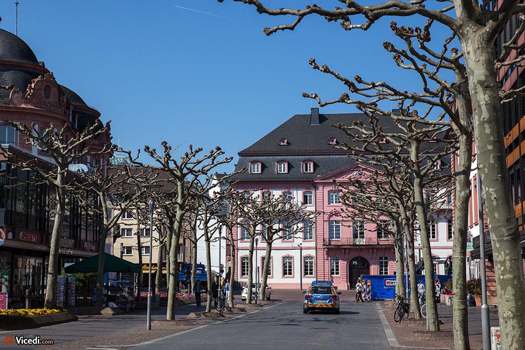 Au fond, l'Hôtel de Bassenheim, d'architecture baroque.