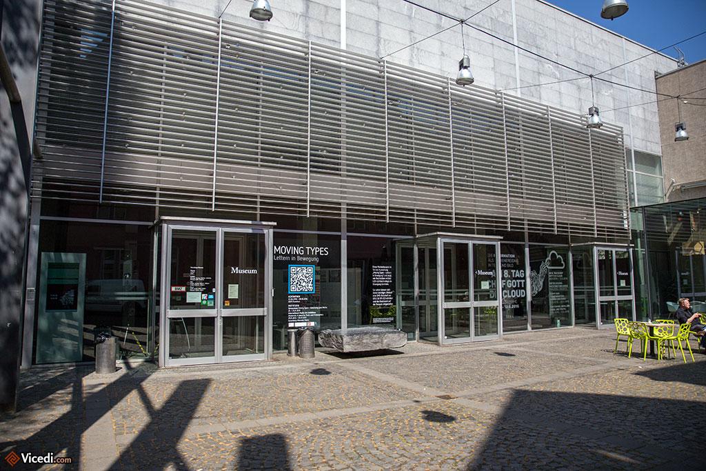 Le musée de Gutenberg, derrière la façade renaissance de l'Hôtel Zum Römischen Kaiser