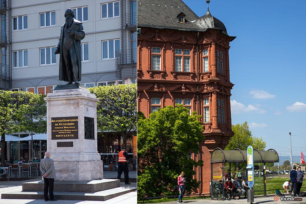 A gauche, la statue de Gutenberg. A droite, le Château des Princes-Électeurs, résidence des archevêques. On y trouve aujourd'hui le musée central romain germanique.