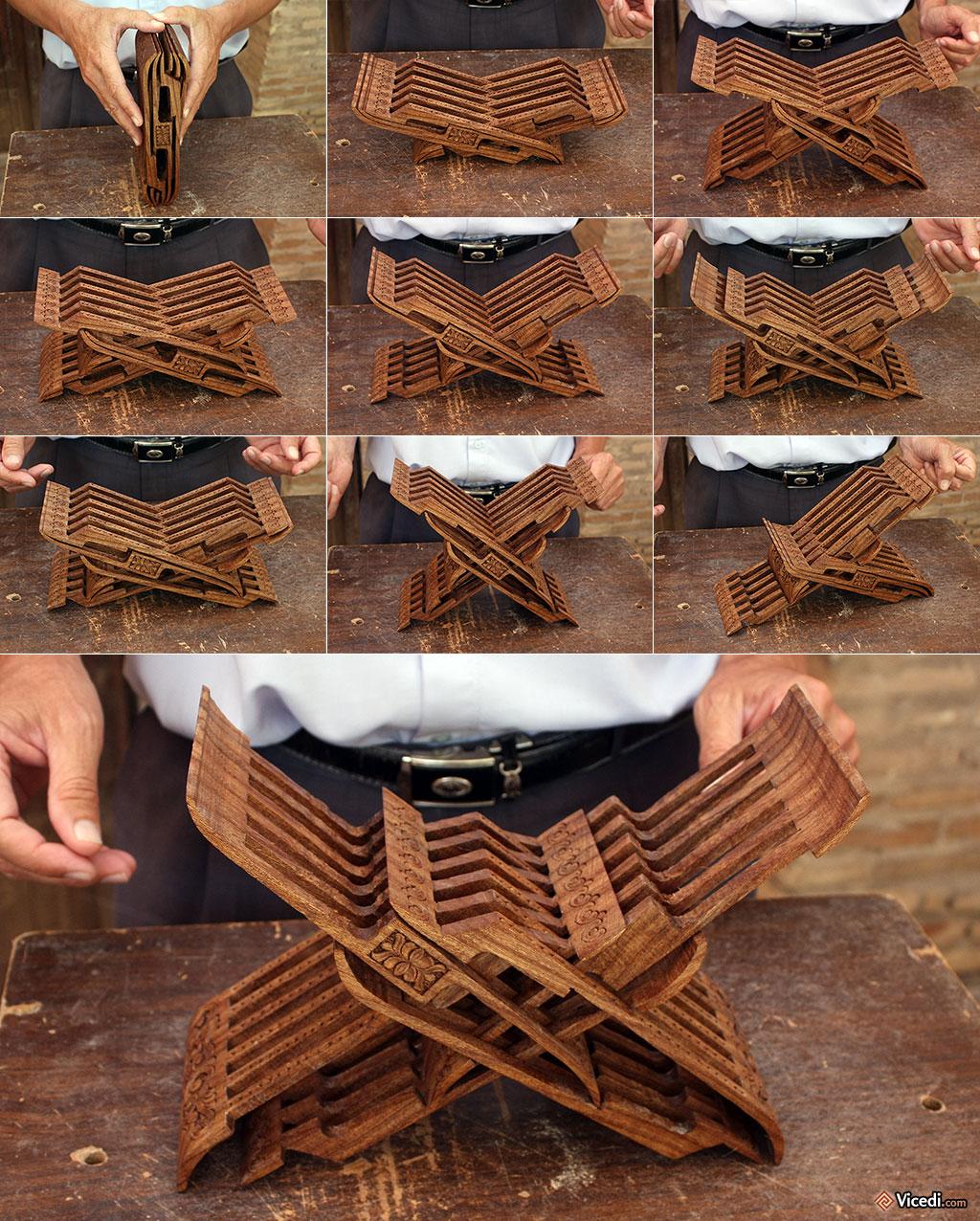 Le lutrin, fait d'une seule pièce de bois, et ses 9 positions différentes.