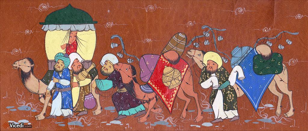 Cette miniature ouzbek présente la particularité d'être peinte sur du cuir. Les caravaniers ont l'air de bien s'amuser!
