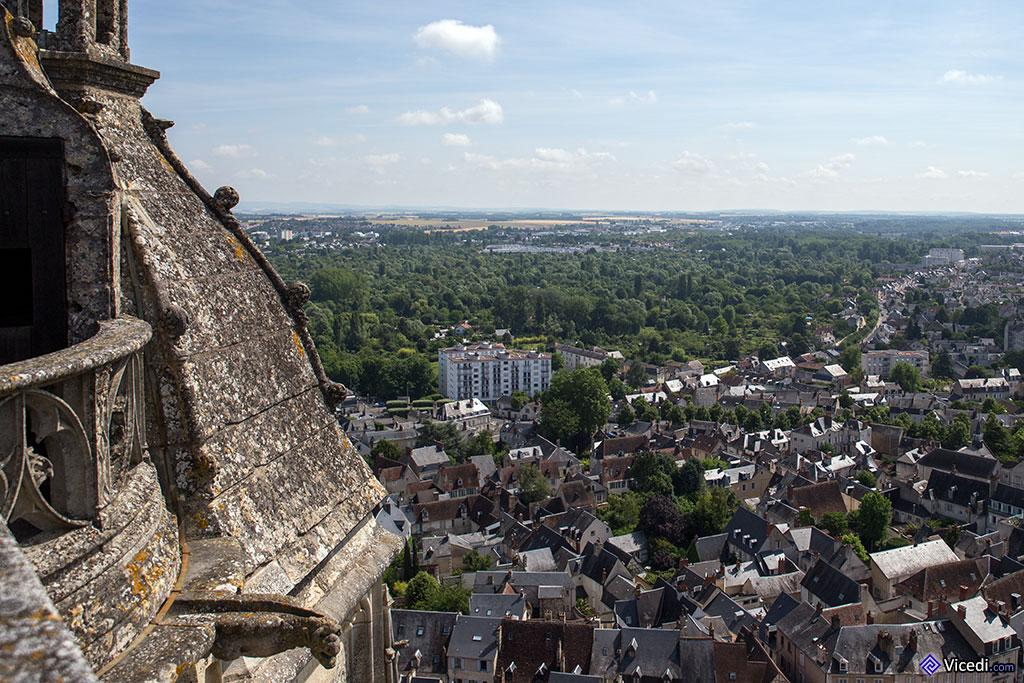 Tout en bas à gauche, une gargouille, avec vue sur la ville de Bourges.