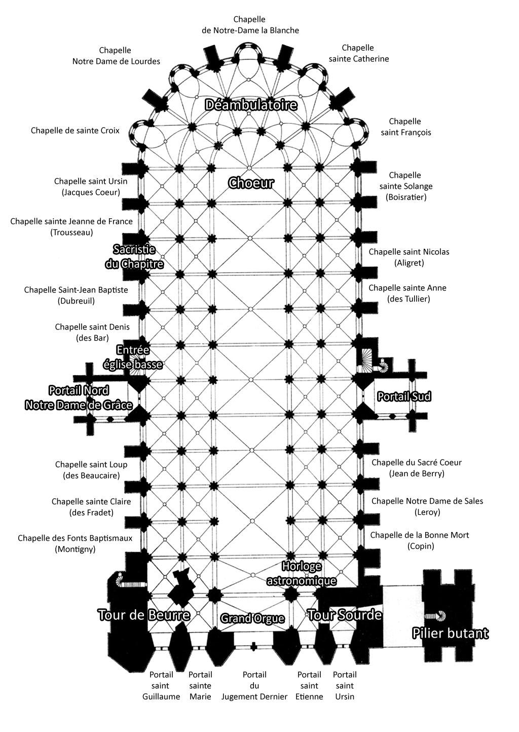 Plan de la cathédrale de Bourges