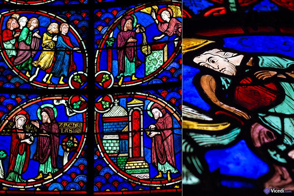 Détail du vitrail de Saint Jean Baptiste