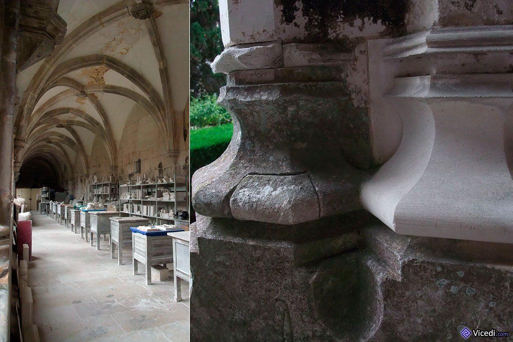 L'atelier de restauration et travail de la pierre, avec un des résultats de ce chantier permanent à droite.